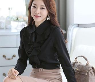 天津女式衬衫长袖新款雪纺